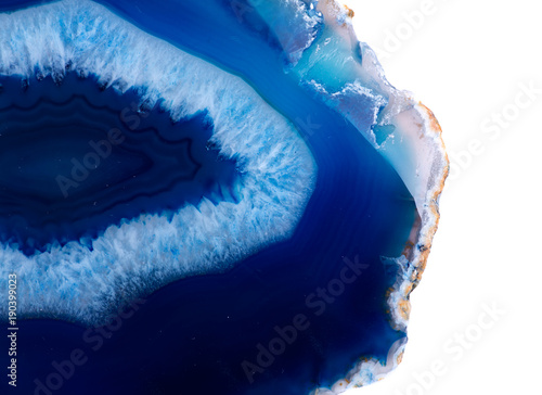Fényképezés  Polished multicolor agate slice isolated on white background