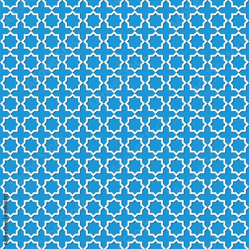 Abstract White Pattern Geometric Of Islamic Arabesque Ornament On Blue Background Seamless Vector Illustration