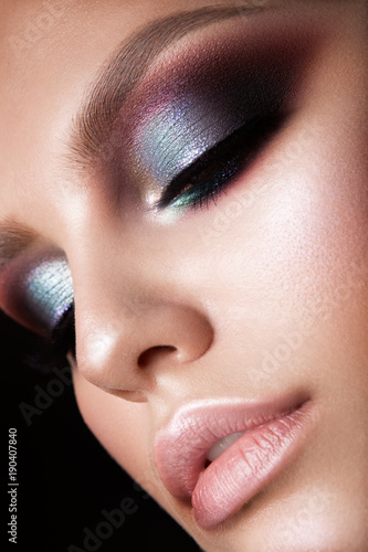 Foto op Canvas Beauty Beautiful woman with professional make up and hairstyle