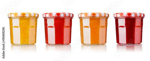 jam in jar, isolated on white Fototapet