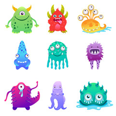 Naklejka Cute cartoon monsters alien characte set vector illustration