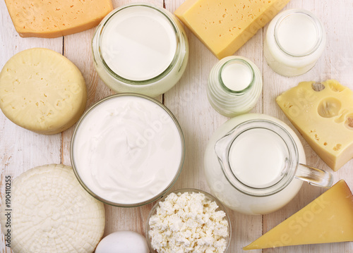 Poster Produit laitier Top view of fresh dairy products