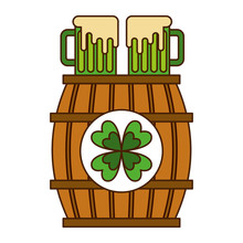 Wooden Barrel With Two Green Beer And Clover Vector Illustration