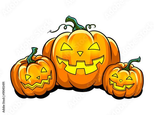 Halloween pumpkin pop art vector illustration © Alexander Pokusay
