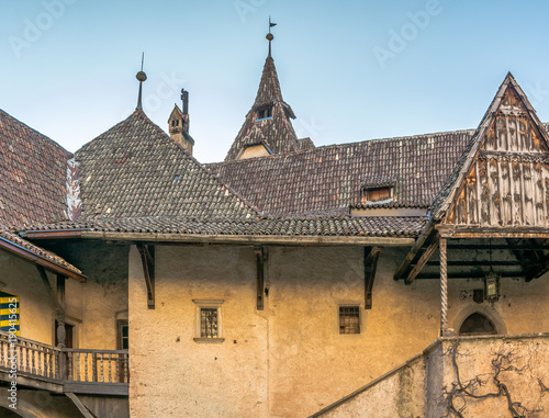 Fotografie, Obraz  Castle d'Enna (Schloss Enn in german language): details of the impressive castle localed on a hill above Montagna in South Tyrol, Bolzano, Italy