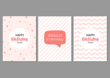 Set Of Vector Cards For Birthd...