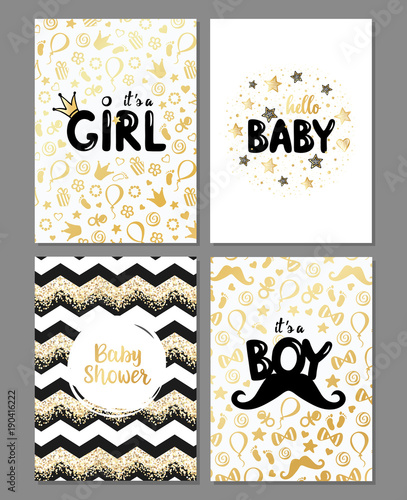 Vector Set Of Baby Shower Cards It S A Girl It S A Boy Card Hello