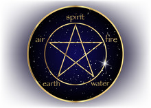 Gold Pentagram Icon With Five ...