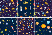 Space Seamless Pattern Set Background, Alien Spaceman, Robot Rocket And Satellite Cubes Solar System Planets Pixel Art, Digital Vintage Game Style. Mercury, Venus, Earth, Mars, Jupiter, Saturn.