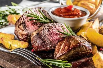 Fototapeta Do gastronomi Steak Gericht