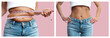 Woman's body before and after weight loss on pastel pink background