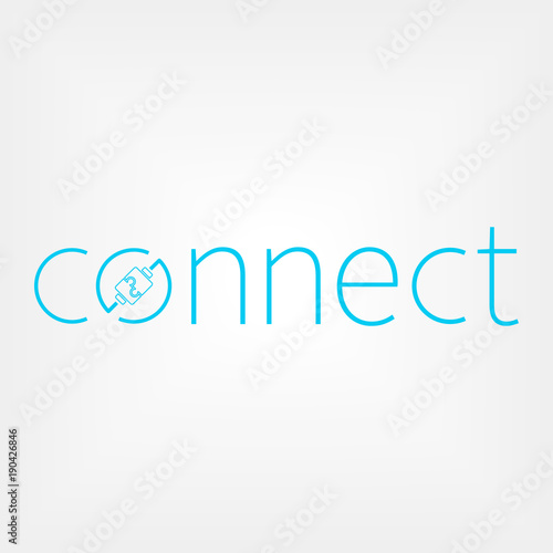 Obraz Connect logo concept. Wires connect people - fototapety do salonu
