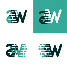 SW Letters Logo With Accent Speed In Light Green And Dark Green
