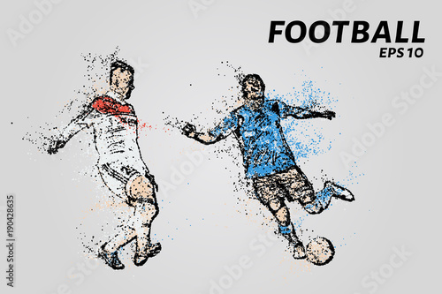 Staande foto Schilderingen A soccer player dribbling shows. Football of the particles