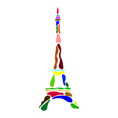 FototapetaAbstract multicolored Eiffel Tower silhouette drawn with bubbles on a white background - Eps10 vector graphics and illustration
