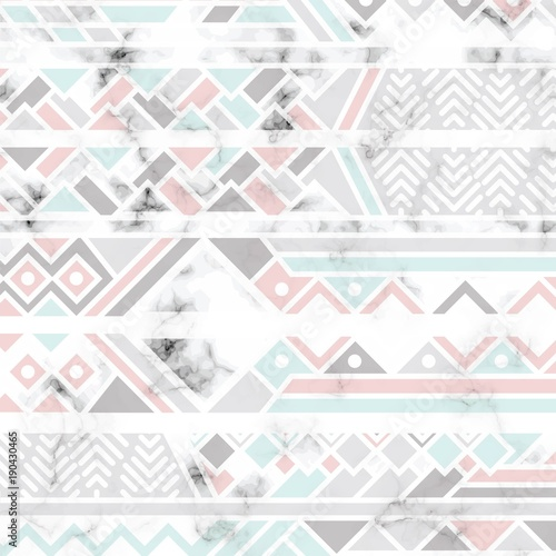 Fototapeta na wymiar Vector marble texture design with white geometric lines, black and white marbling surface, modern luxurious background