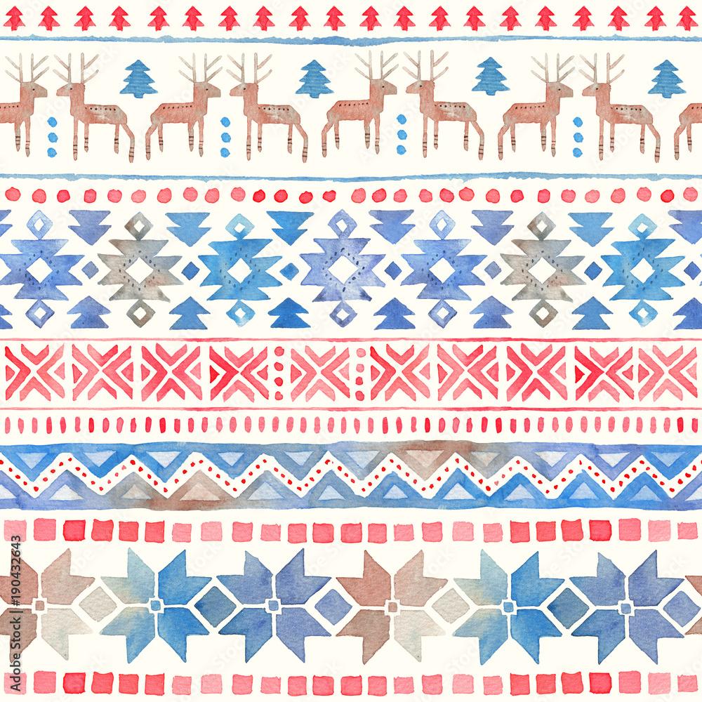 Seamless Watercolor Ethnic Tribal Ornamental Pattern