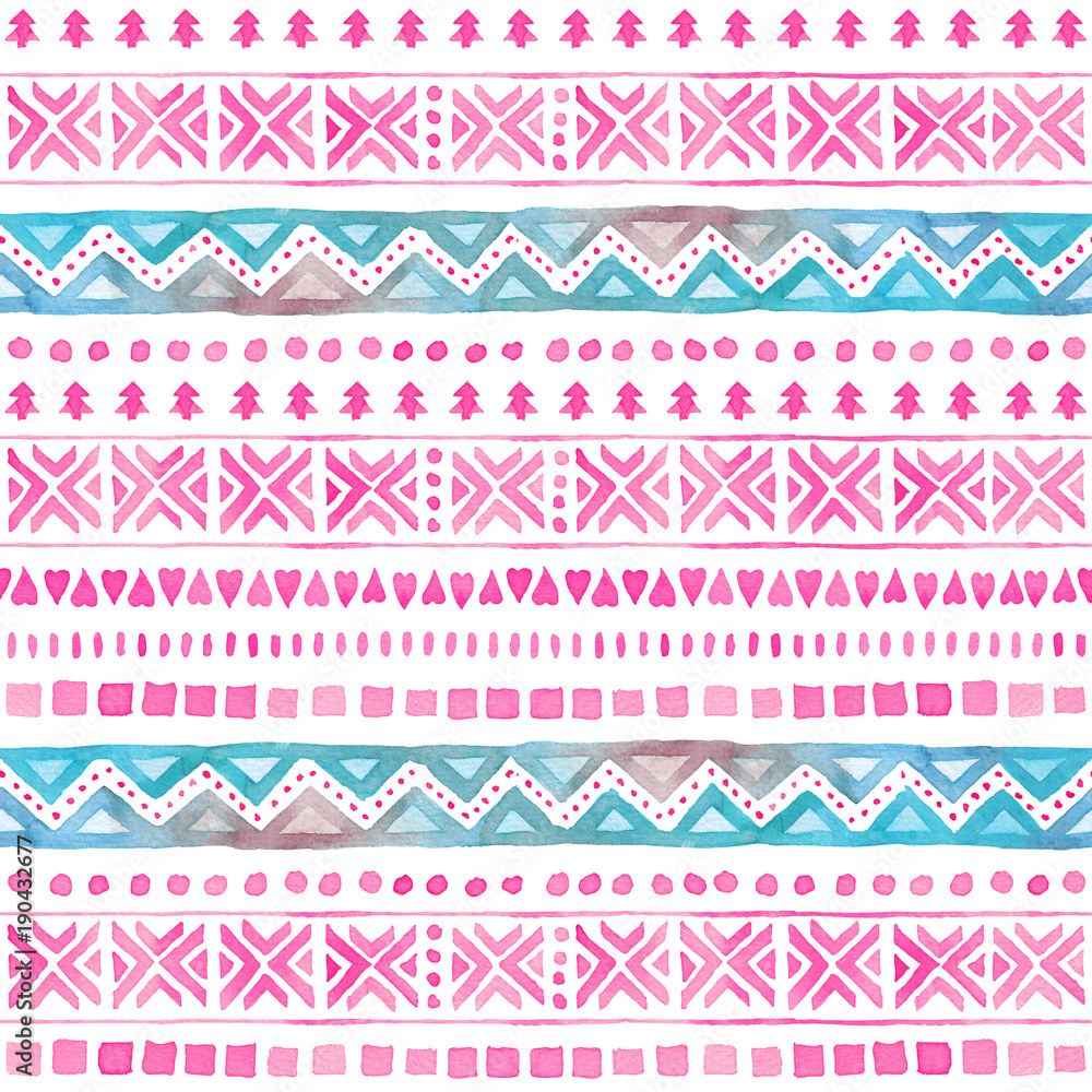 Seamless Watercolor Ethnic Tribal Ornamental Pattern