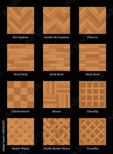 Fényképezés  Parquet floor pattern - most popular parquetry wood flooring set with names - isolated vector illustration on black background