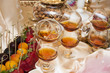 festive table setting with a variety of desserts