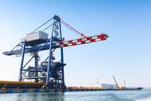 Gantry Cranes In Port Of Burgas, Black Sea