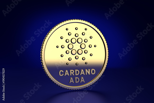 Photo Crypto Currency: 3D Render of an Cardano ADA coin substitute against dark blue b