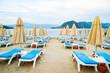 Sun loungers on a beach in Turkey
