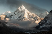 Ama Dablam Mountain. Sun Illum...