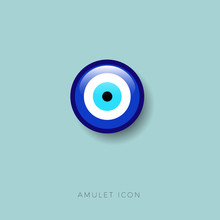 Eye Bead Icon. Amulet Protect Against The Evil Eye Glossy Button.