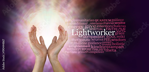 Photo  The healing hands of a Lightworker - Female hands in an upwards open gesture bes