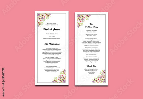 wedding program layout with floral corners 1 buy this stock