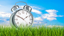 Alarm Clock In Green Grass, 3d...