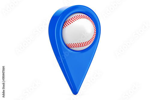 Photo  Map pointer with baseball ball, location concept. 3D rendering