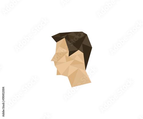 Polygon man head logo template. Human colorful vector design. Men head illustration Wall mural