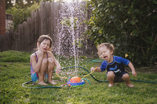 Siblings Playing By Fountain I...