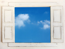 White  Vintage Window To See The Blue Sky