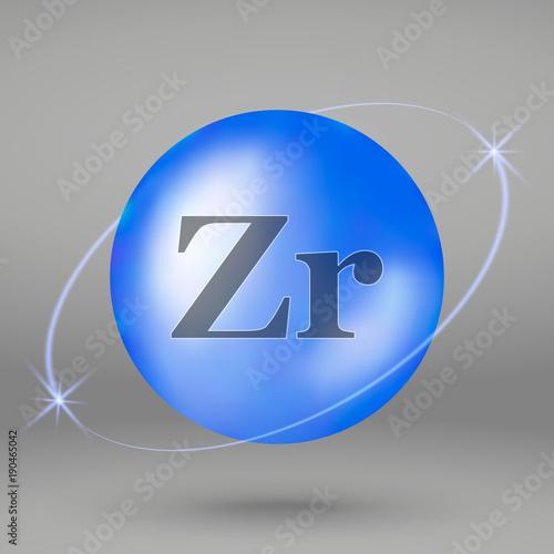 Valokuva  Zirconium icon. mineral drop pill capsule. Mineral complex design