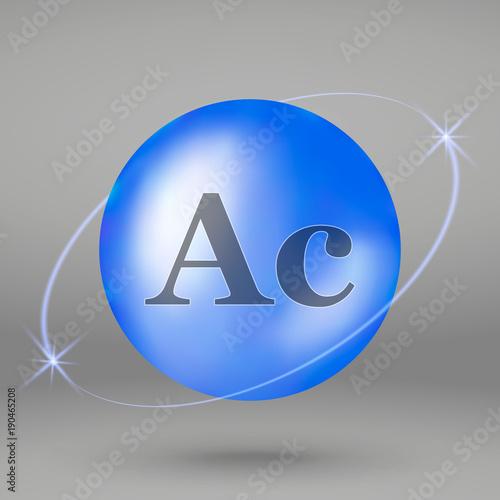 Actinium icon. mineral drop pill capsule. Mineral complex design Wallpaper Mural