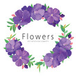 Floral frame with purple princess flower or tibouchina urvilleana and leaf on white background. Vector set of blooming floral for wedding invitations and greeting card design.