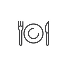 Plate, Knife And Fork Line Ico...