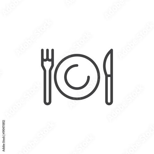 Obraz na plátně Plate, knife and fork line icon, outline vector sign, linear style pictogram isolated on white