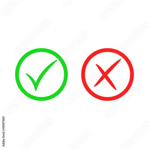 Green Check Mark Icon Red Cross Mark Vector Checkmark Button Tick