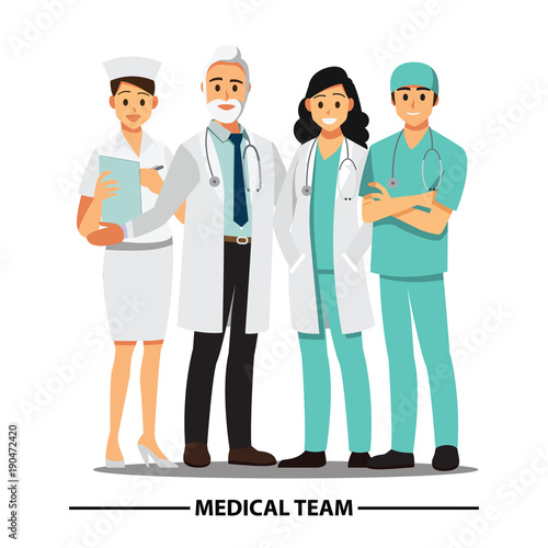 Fotografie, Obraz  Medical Team and  staff ,Vector illustration cartoon character