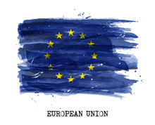 Watercolor Painting Flag Of Eu...