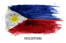 Watercolor Painting Flag Of Philippines . Vector