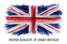 Watercolor Painting  Flag Of United Kingdom Of Great Britain ( UK ) . Vector