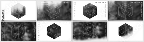 Valokuva  Presentation template in HD format, cover design with geometric shapes and masks