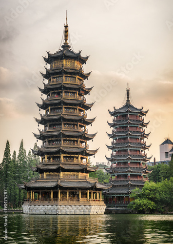 Foto op Canvas Guilin The Sun and Moon Twin Pagodas at sunset. Guilin, China