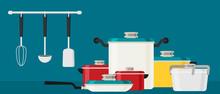 Flat Design Concept Icons Of Kitchen Utensils .