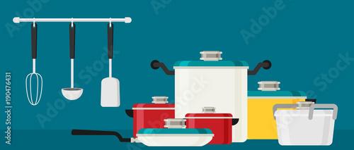 Fototapeta Flat design concept icons of kitchen utensils .